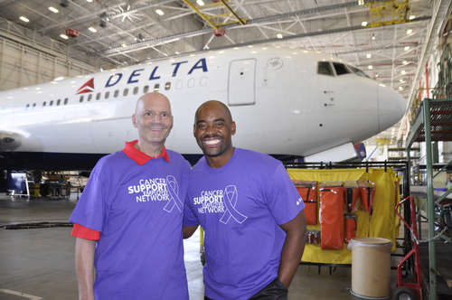 Delta Airlines TechOps empolyee, cancer survivor honored with a visit from former NFL Player