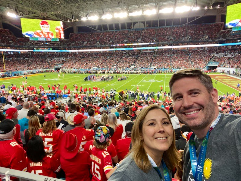 Angie Downs represented TD and Seattle Cancer Care Cancer at Super Bowl 54 in Miami, FL
